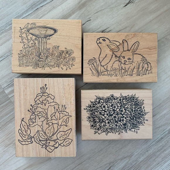 Other - Rubber Stamps Floral/Bunny/Spring Themed Set of 4